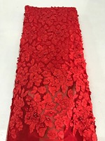African Bead Lace Fabric Red Nigerian French Fabric 2017 High Quality African Tulle Lace Fabric SAE414