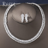 RAKOL 2019 Newest Fashion High quality Cubic Zirconia Leaf white Color Earrings Necklace Jewelry Set for Women Wedding Dress
