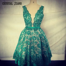 2017 v neck sleeveless knee length beaded lace homecoming prom party dresses custom made real image.jpg 250x250