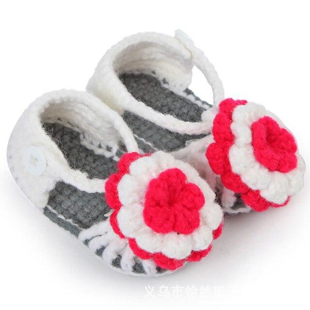 Freies Verschiffen Häkeln Babyschuhe, Baby mädchen Weiß Blumen Flip ...