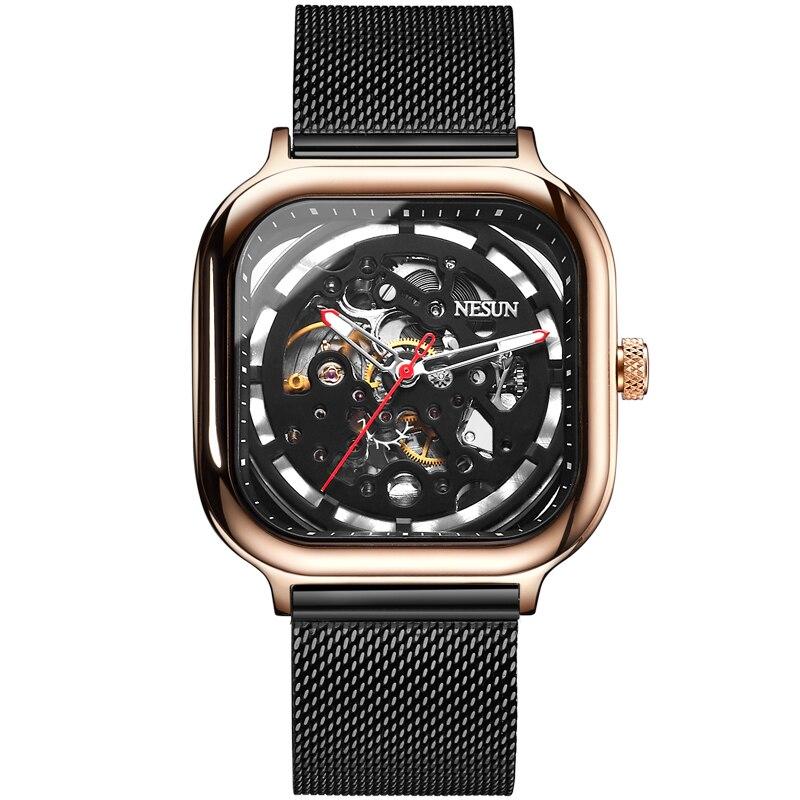 все цены на Switzerland Nesun Automatic Mechanical Watch Skeleton Clock Men Luxury Brand Men's Watches Waterproof relogio masculino N9505G-2 онлайн