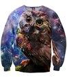 Mujeres hombres 3d Hoot hoot owl Sudadera para llevar el sabiduría en las noches frías galaxy crewneck tops Sweat hoodies pullover