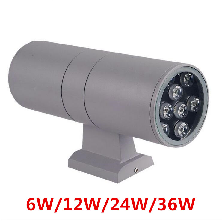 Modern decor Up Down Dual-Head Cylinder 6W 12W 24W 36W LED Wall Light Outdoor Waterproof IP65 Wall Lamp AC 85-265V free shipping 24w rgb up and down led outdoor wall lights outside wall mount sconces lamp waterproof ip65 220v 110v