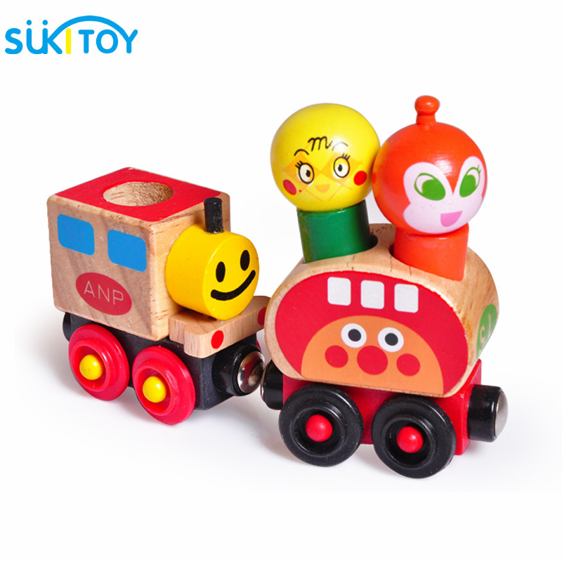 Wooden toy Anpanman Magnetic Train Thomas Train Wooden Toys Magnetic Vehicle Blocks Kids Educational Gift WD123 [umu] wooden puzzles toys for kids train creativity imagnation toy children s ability environmental educational wooden toy
