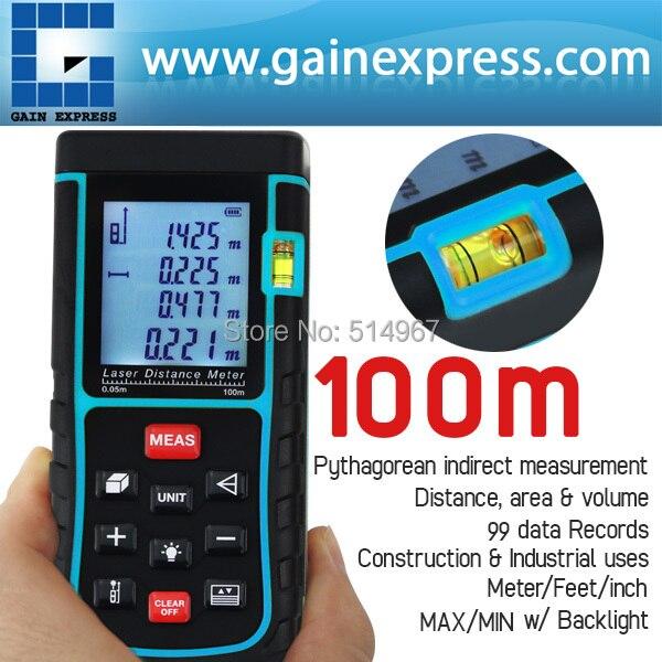 100 Meter Digital Laser Distance Area Volume Pythagorean w/ Spirit Level Industrial Construction Use Measurer Range Finder Tool  цены