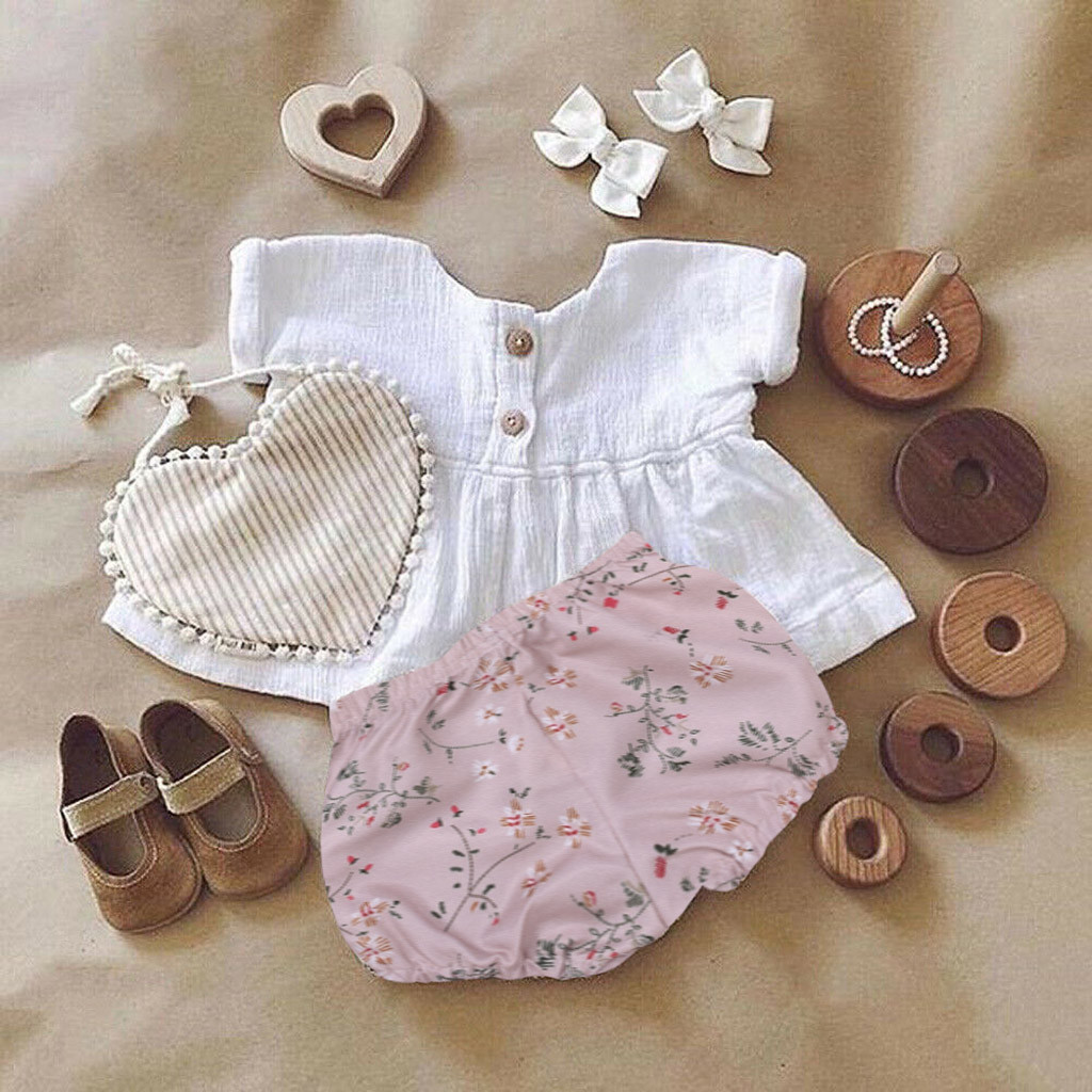Infant Baby Girl Summer Clothes Set Toddler Comfortable Tops Floral Print Shorts Linen Clothes Outfits For Newborn Carters Baby