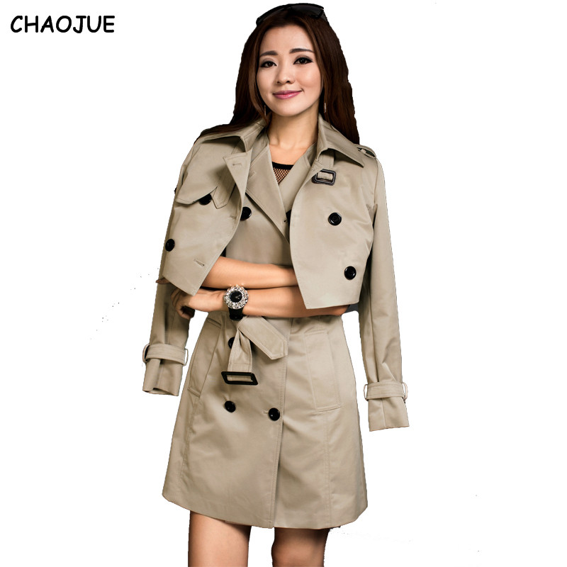 13a80ea81e CHAOJUE Twin set trincheira fêmea outerwear 2018 primavera vestido tanque  de médio-longo plus size fino conjunto casaco senhoras trincheira casaco  terno
