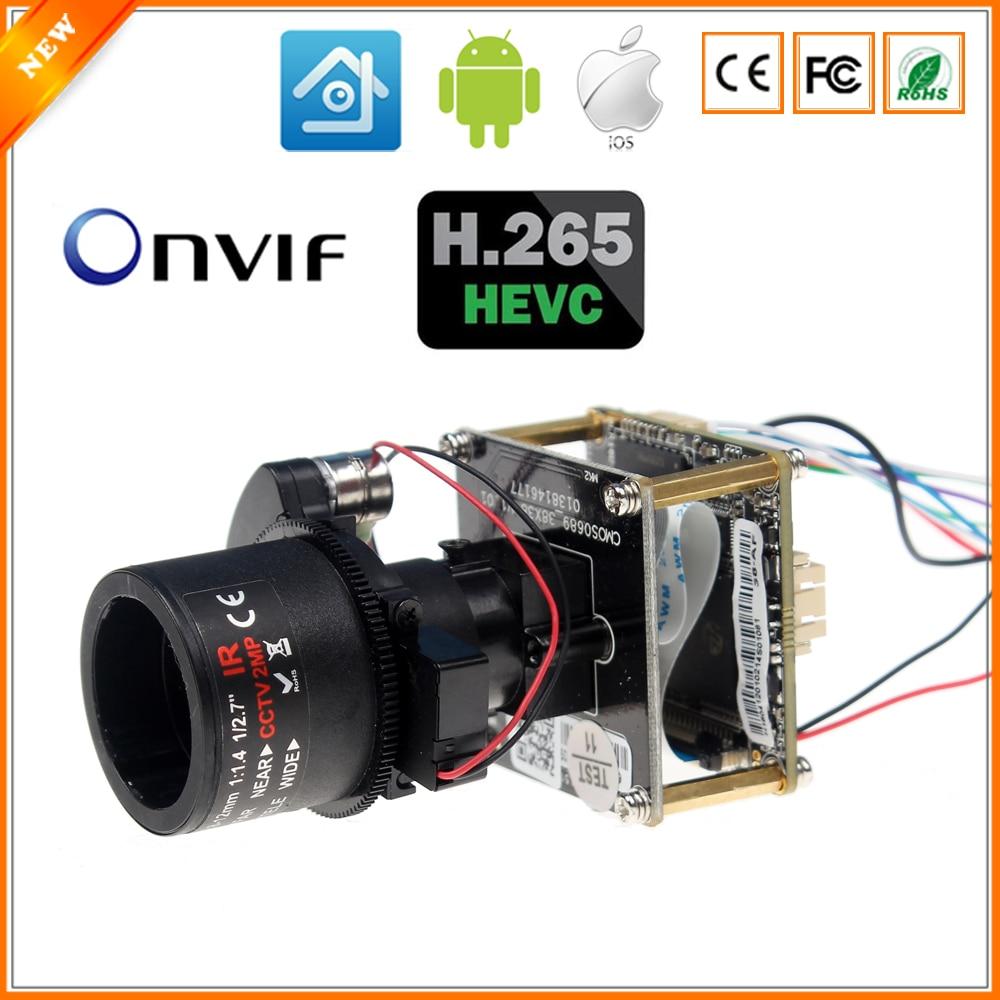 bilder für Motorisierte Objektiv Auto-Zoom 2,8mm-12mm 3X Zoom H.265 4MP Ip-kamera HI3516D + 1/3 ''OV4689 CMOS IP Kamera Module PCB Board + Kabel