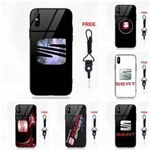 Seat Logo For Apple iPhone 5 5C 5S SE 6 6S 7 8 Plus X XS Max XR Transparent Soft TPU Frame Tempered Glass Phone Case Cover