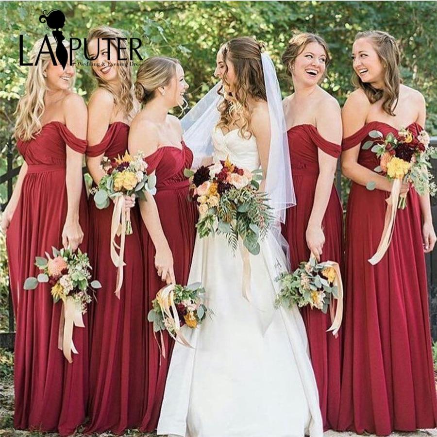 Robe de soiree off the shoulder pleats chiffon burgundy for Burgundy wedding dresses plus size