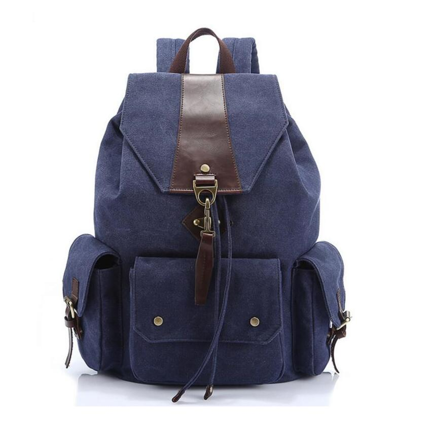 dark blue male canvas bag large travel backpack college bags high school student laptop bag boys school bags schoolbag bookbag велосипед altair city high 28 19 2015 dark blue