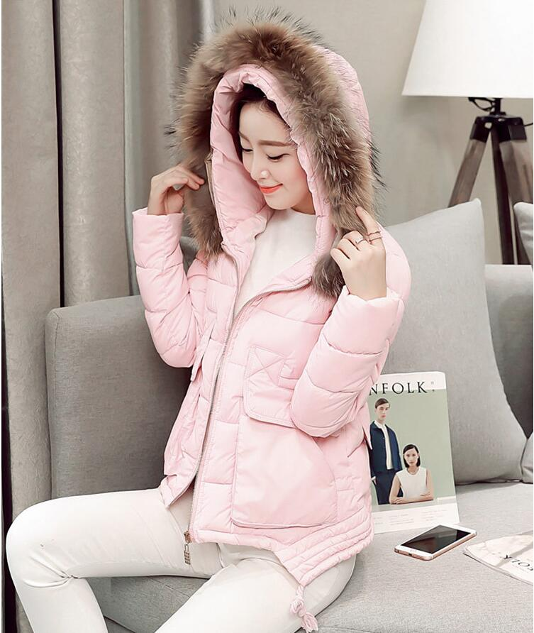 2017 womens winter slim coat fashion jacket warm hoodies caot with Real fur Fast delivery free shipping
