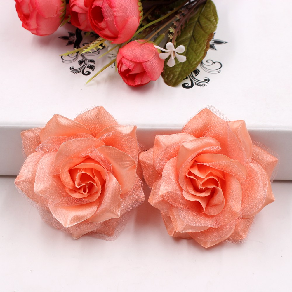 100pc Large Silk Fire Rose Artificial Flower For Wedding Home