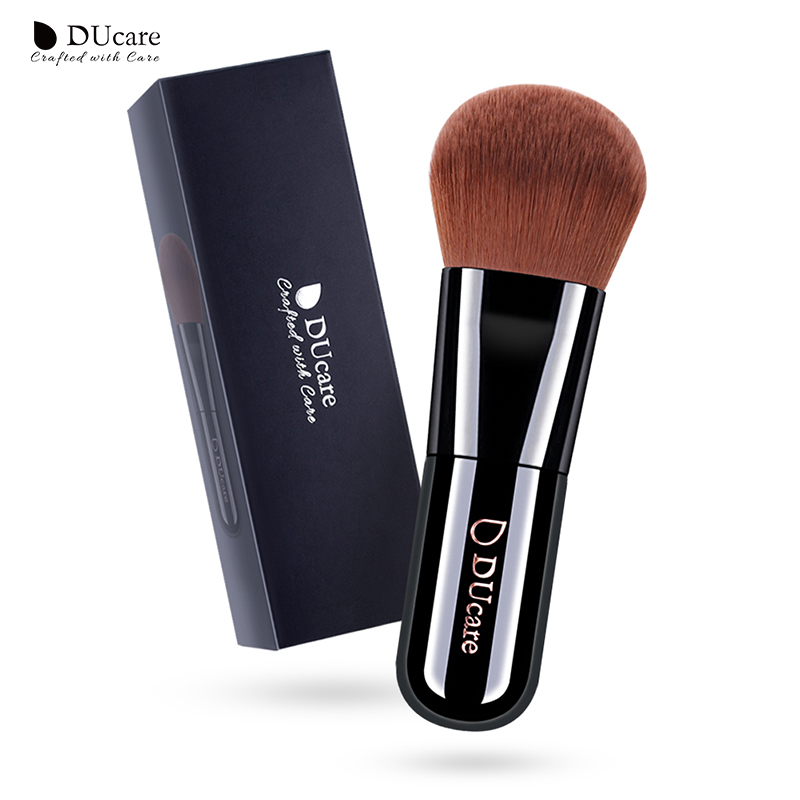 Ducare foundation brush 1pcs professionele make-up kwasten hoogwaardige make-up kwasten topbruin synthetisch haar