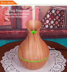 electric humidifier aroma oil diffuser ultrasonic wood air humidifier USB cool mini mist maker LED lights for home office H