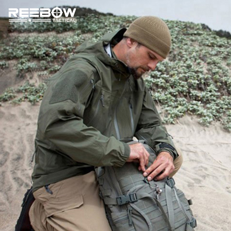 REEBOW TACTICAL Herren Herbst Outdoor Hardshell Wanderjacken Windbreaker Hooded Trench 100% wasserdicht Camping Sport Mäntel
