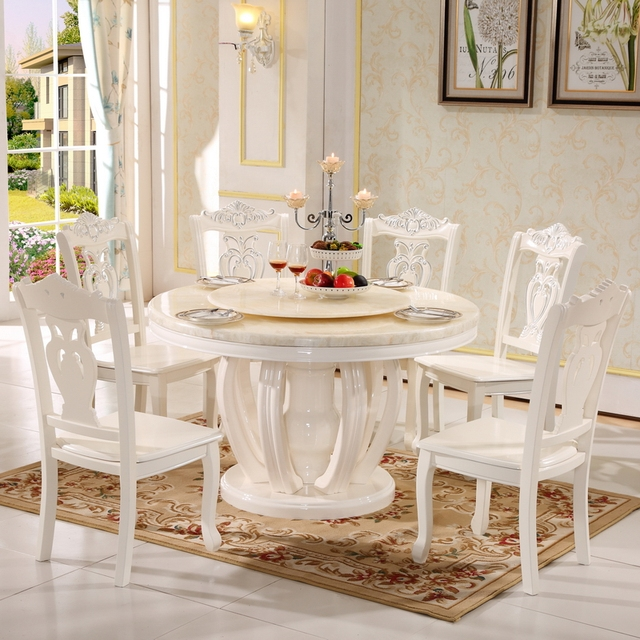 Round Dining Table Diameter 12m 13m 15m Marble Table White Wood