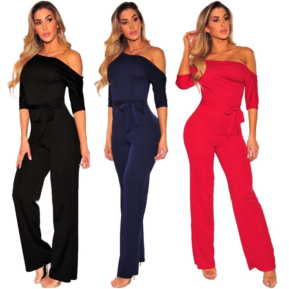 2018 Fashion Women Skew collar Playsuits Sexy bodysuit jumpsuit Plus size Clothes body feminino