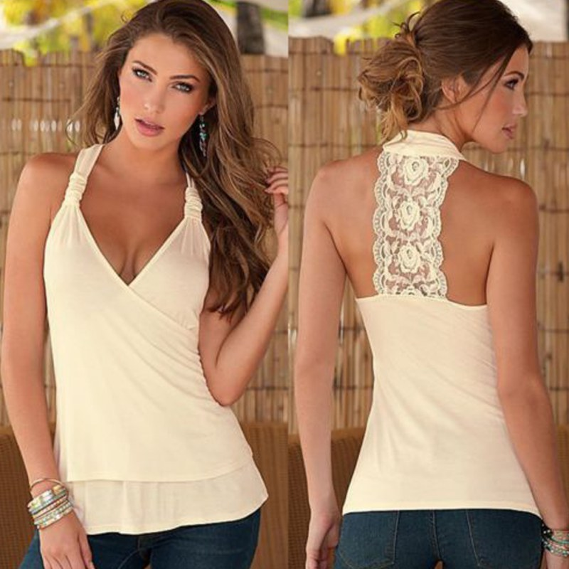 Summer Women Sleeveless Sexy Vest Top Halterneck Lace Casual Tank Tops T-Shirt