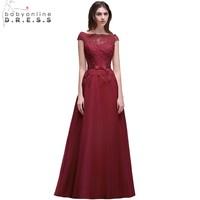 Babyonline Pretty Burgundy Lace Applique Evening Dresses 2017 Off The Shoulder Long Evening Party Dress Vestido