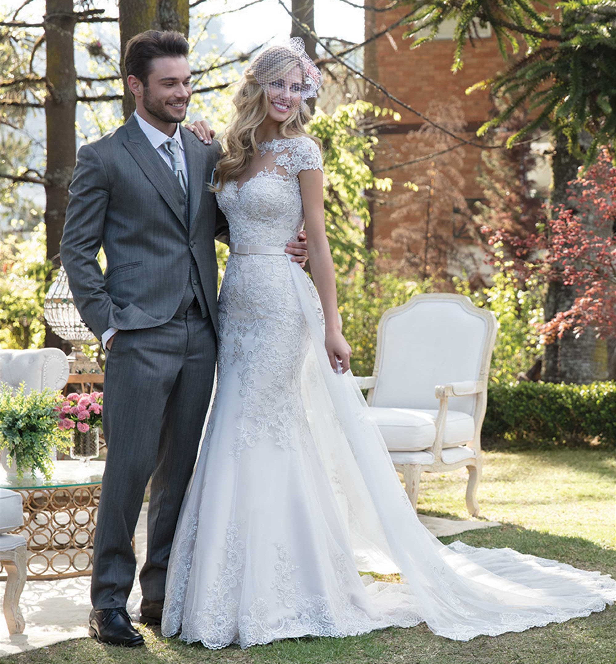 Detachable Skirt Mermaid Lace Tulle Beading Appliques Sexy Luxury Wedding Dresses Wedding Gowns Custom Made 2019