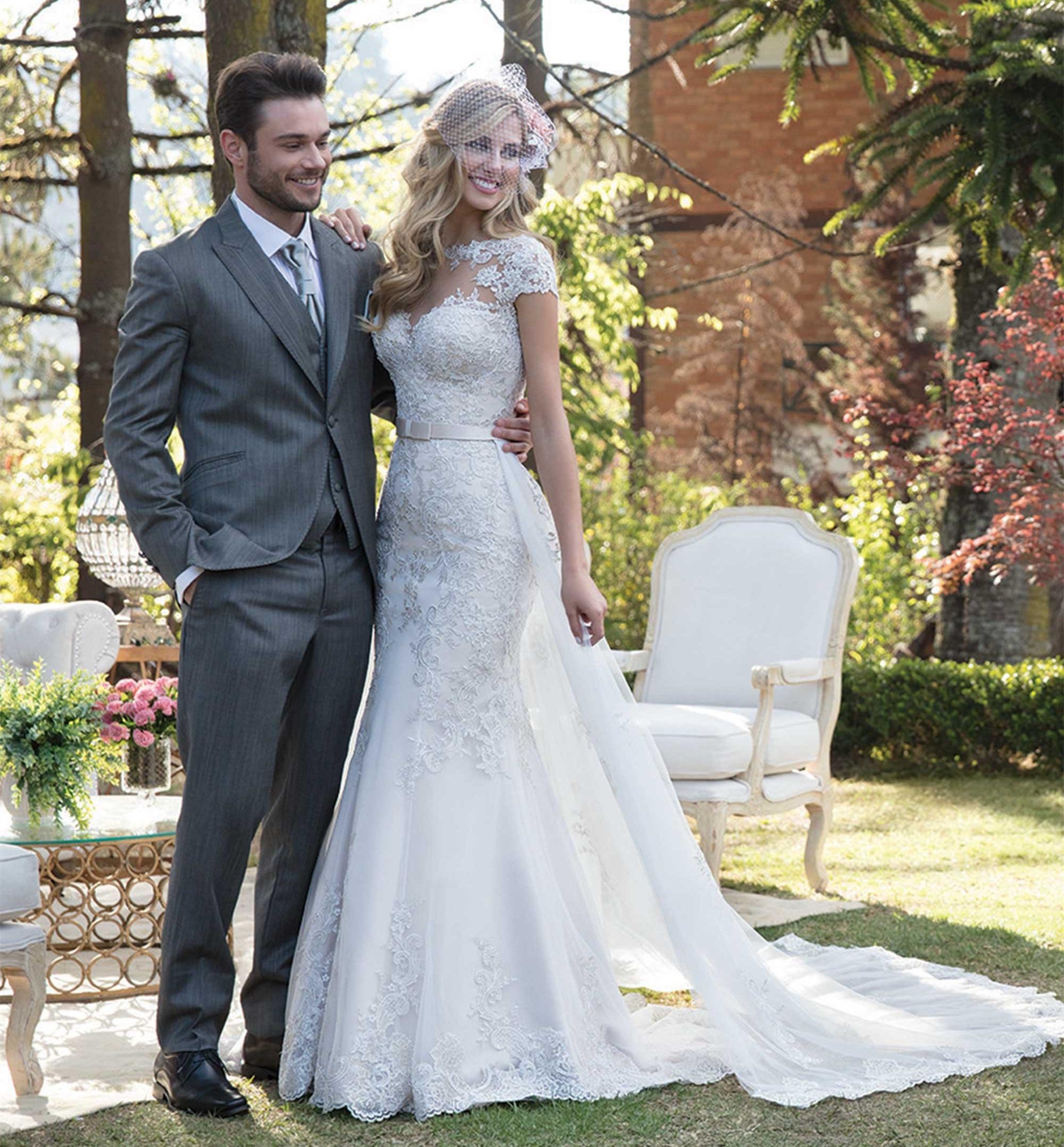 Jupe détachable sirène dentelle Tulle perles Appliques Sexy luxe robes de mariée robes de mariée sur mesure 2019 nouveau Design SC11