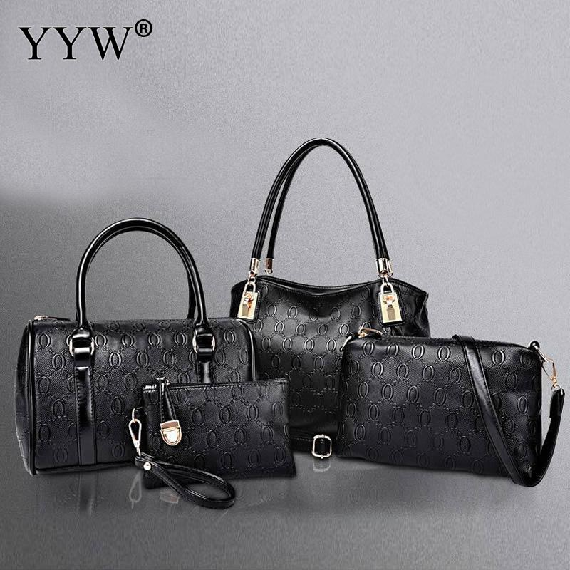 4 PCS/Set Gold PU Leather Handbags Women Bag Set Famous Brands Tote Bag Lady's Shoulder Messenger Bags Clutch Bag Women's Pouch