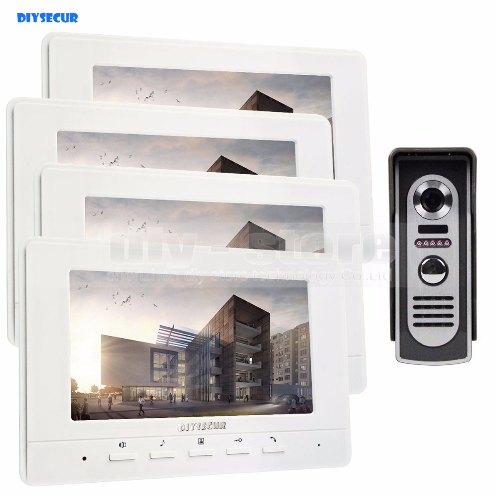 DIYSECUR 800 x 480 7inch Video Intercom Video Door Phone 600TV Line IR Night Vision Outdoor Camera 1 camera 4 monitors