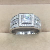 Classic Men Ring Set 6MM 1 Carat CZ Diamant Engagement Ring 925 Solid Silver Wedding Ring for Men Fine Jewelry Wholesale