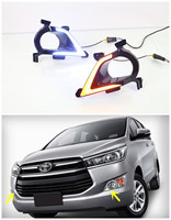 Waterproof Car LED DRL For Toyota Innova 2016 Xenon White DRL Fog Lamp Daytime Running Light With Yellow Turn Signal Function