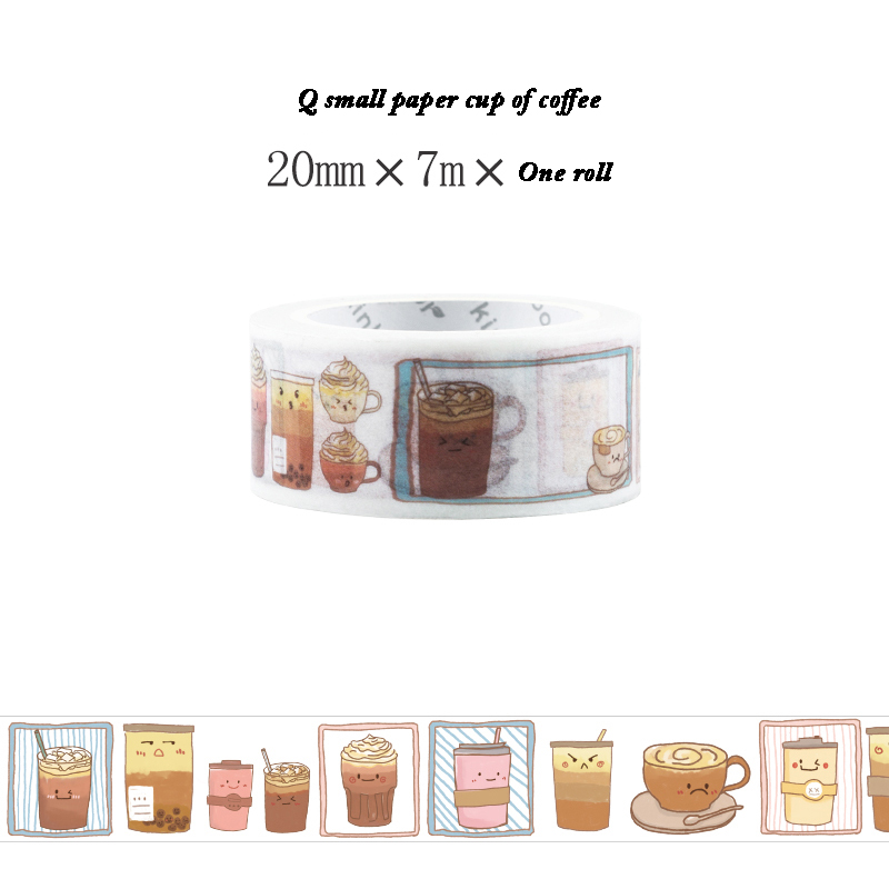 1 Roll 20mm*7m Paper Coffee Cup Kawaii Wide Masking Tape For Decorative Adhesive Tapes Washi Tape Scrapbooking Sticker