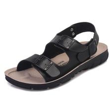 LISM 2018 Summer Mens Sandals Cow Leather Beach Couple Flats Poly Urethane Fashion Casual  Men Shoes Buckle Strap Plus Size 44