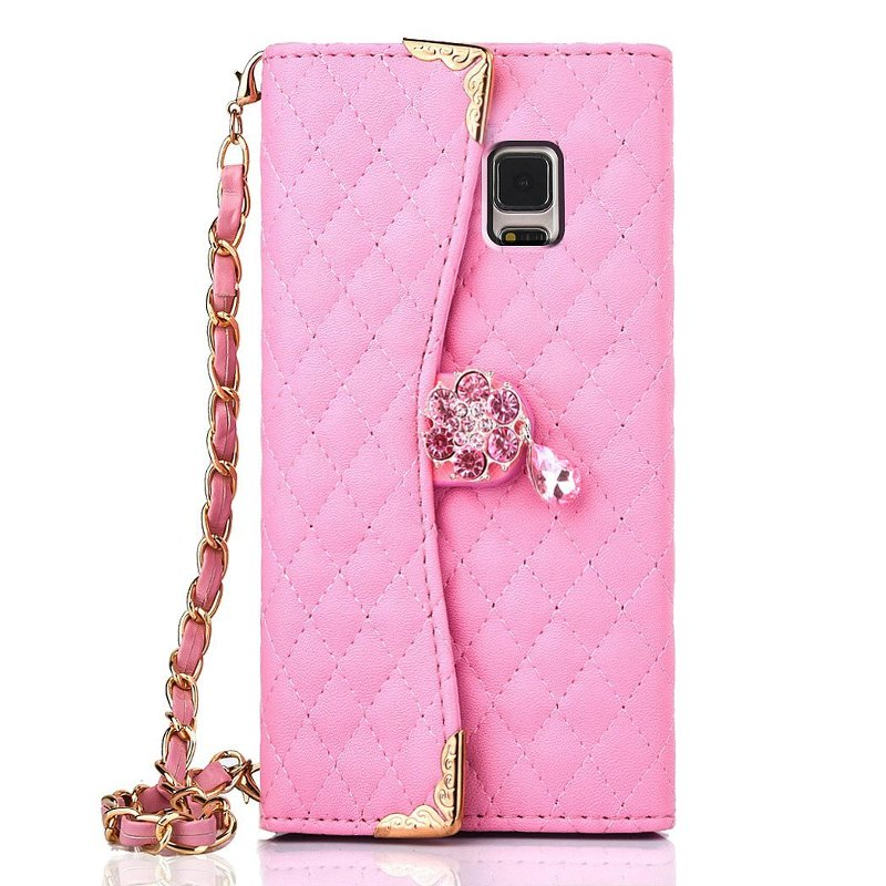 Luxury PU Leather Wallet Purse Handbag Flip Cover Case For Samsung Galaxy Note 4 Phone Case