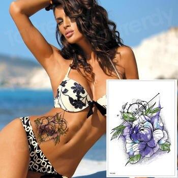 waterproof tattoo stickers bikini peony tattoo & body art flower rose tattoo fake water transfer tattoo temporary tatoo leg arm 2