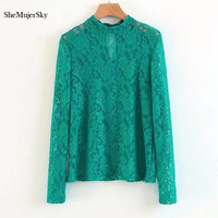 SheMujerSky Women Lace Blouse Green Perspective Flower Tops Lady Long Sleeve Shirt Blusa Transparente