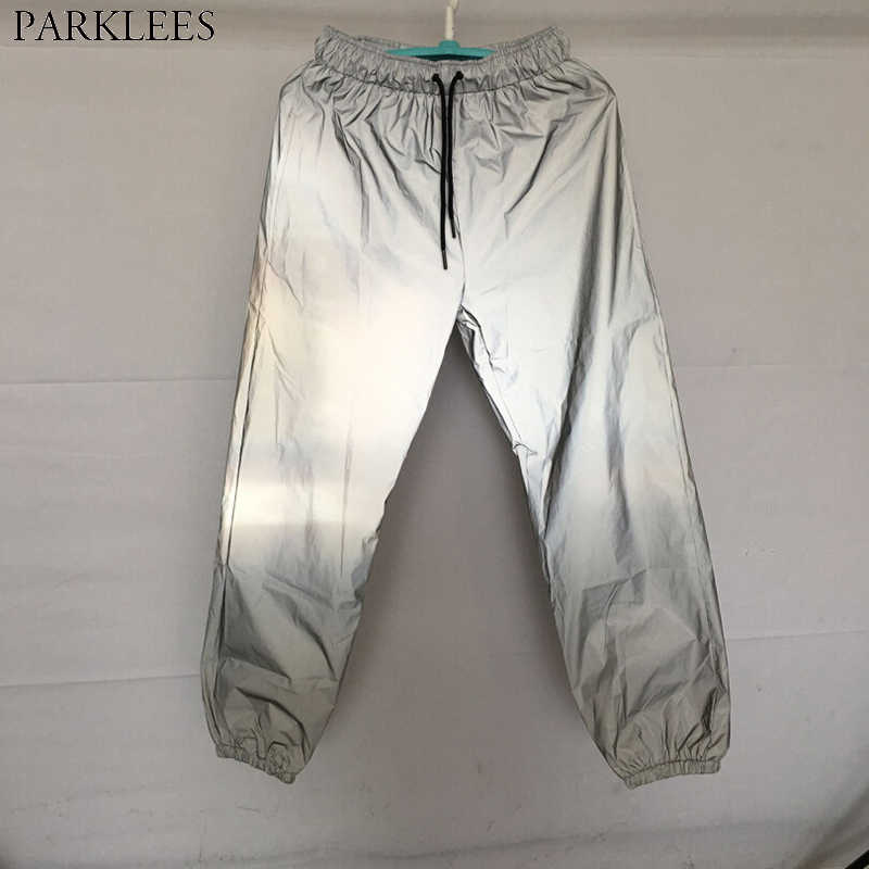 869cc89fbc3180 Reflective Pants Men 2018 Brand New Hip Hop Dance Fluorescent Trousers  Casual Harajuku Night Sporting Jogger