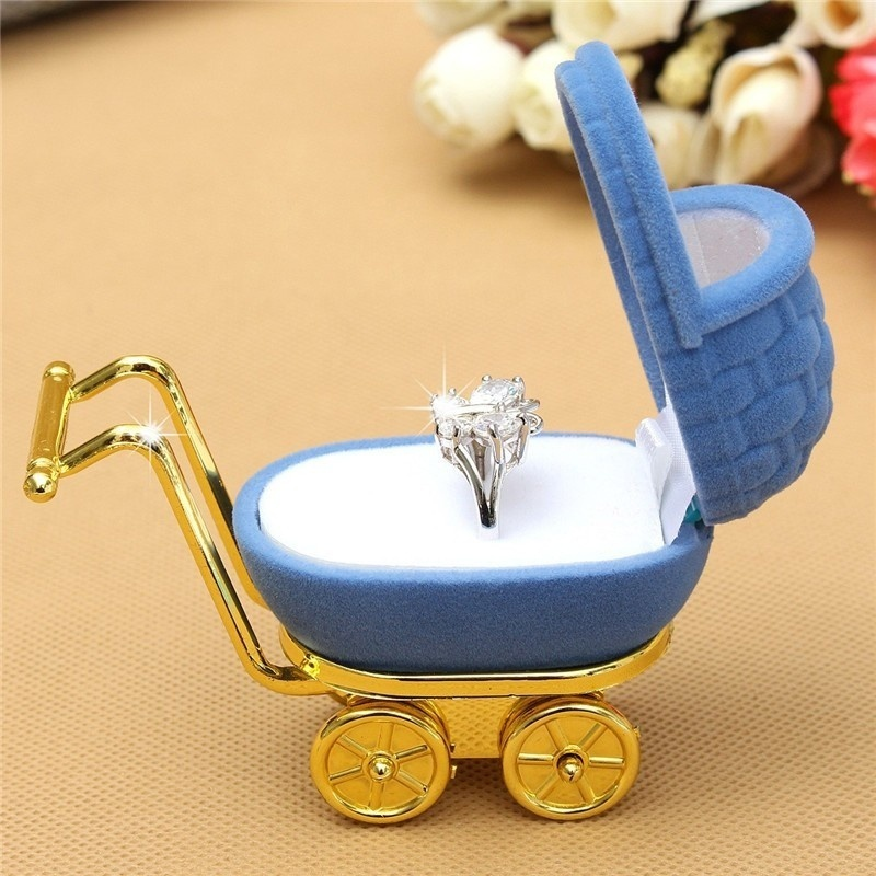 1Pcs New Velvet Stroller Ring Box Jewellery Organiser Case Holder Display Storage Gift Box Jewellery Accessories