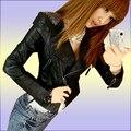 Yono новинка женщины куртка тонкий PU кожаное пальто сторона мотоцикла сплошной цвет панк стиль кардиган Большой размер