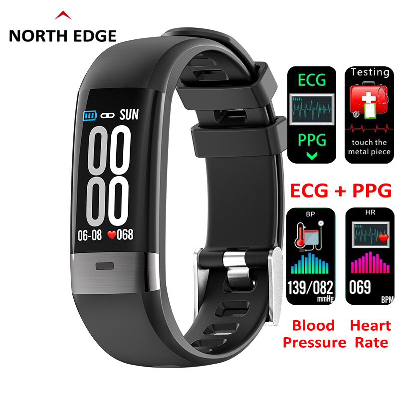 North Edge 2019 Smart Bracelet ECG PPG Blood Pressure Heart Rate Monitor Pedometer Sports Band Multi