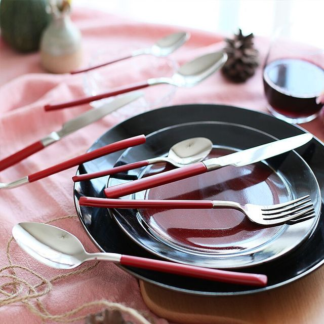 Lekoch Festive 4Pcs/Set Stainless Steel Cutlery Dinnerware Set Western Food Red Cutlery Tableware Dinnerware & Lekoch Festive 4Pcs/Set Stainless Steel Cutlery Dinnerware Set ...