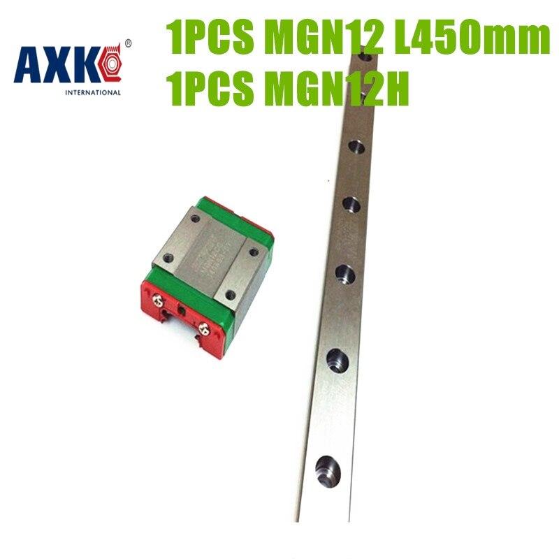AXK Hot selling china linear guide block MGN12H + rail L450mm MGN12 ball bearing steel rail for linear motion drive parts roland sj 640 xj 640 l bearing rail block ssr15xw2ge 2560ly 21895161 printer parts