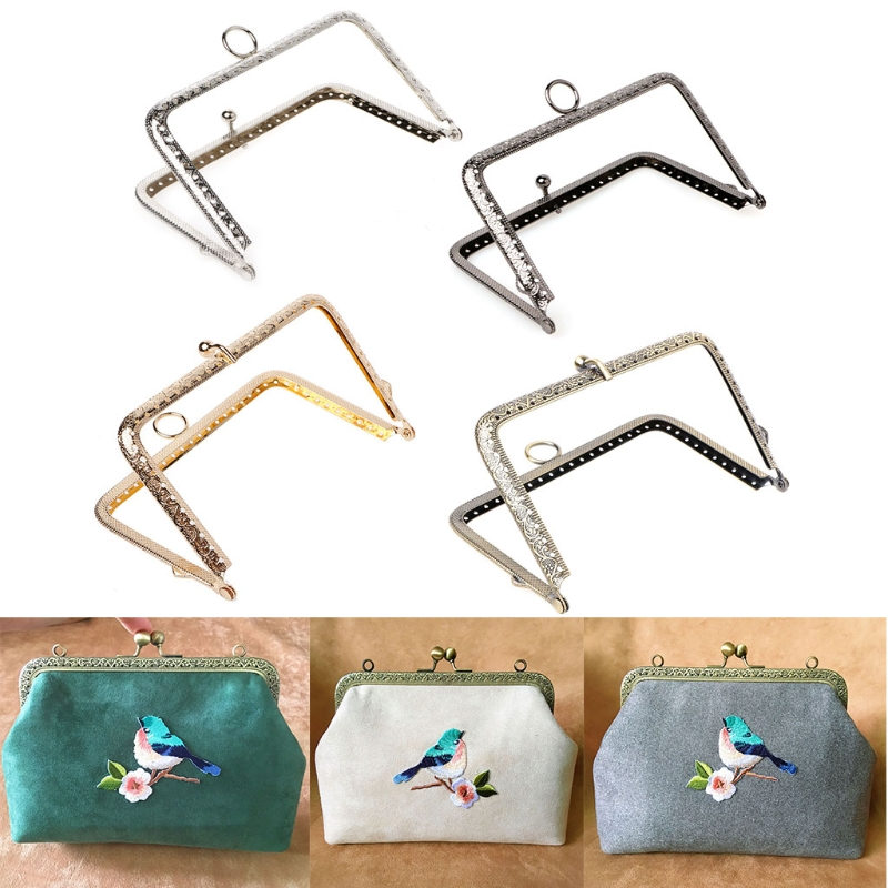 THINKTHENDO 1Pc DIY Purse Handbag Handle Coins Bags Metal Kiss Clasp Lock Frame 13.8cm
