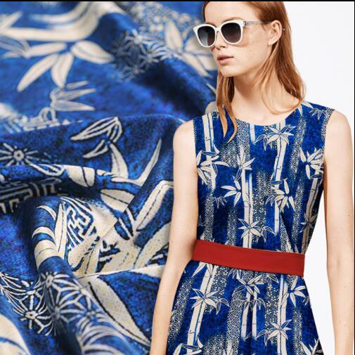 Bleu bambou feuille Stretch large 19 m soie tissu robe tweed scrapbook impression parti satin tissu africain en mousseline de soie tissu A488