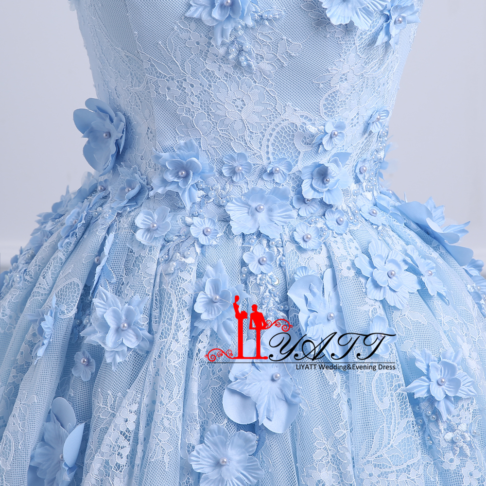 Blue Vintage Arabic High Low Prom Dresses Off Shoulder 3D Floral ...