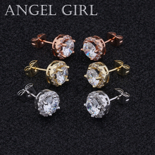 Angel Girl Trendy Popular Round 6mm Austrian Cubic Zirconia stud earrings with silver /Rose/Gold Color for Woman Jewelry gift