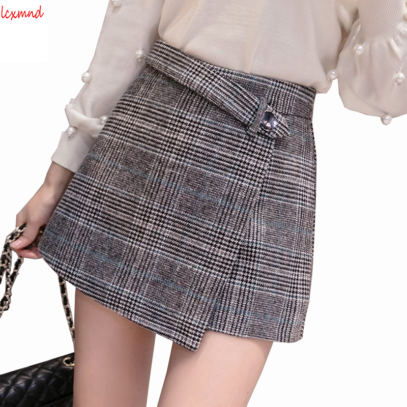 2018 New Autumn And Winter Woolen Plaid Skirt Shorts For Women High Waist Loose Short Feminino Slim Short Jeans Plus Size Shorts