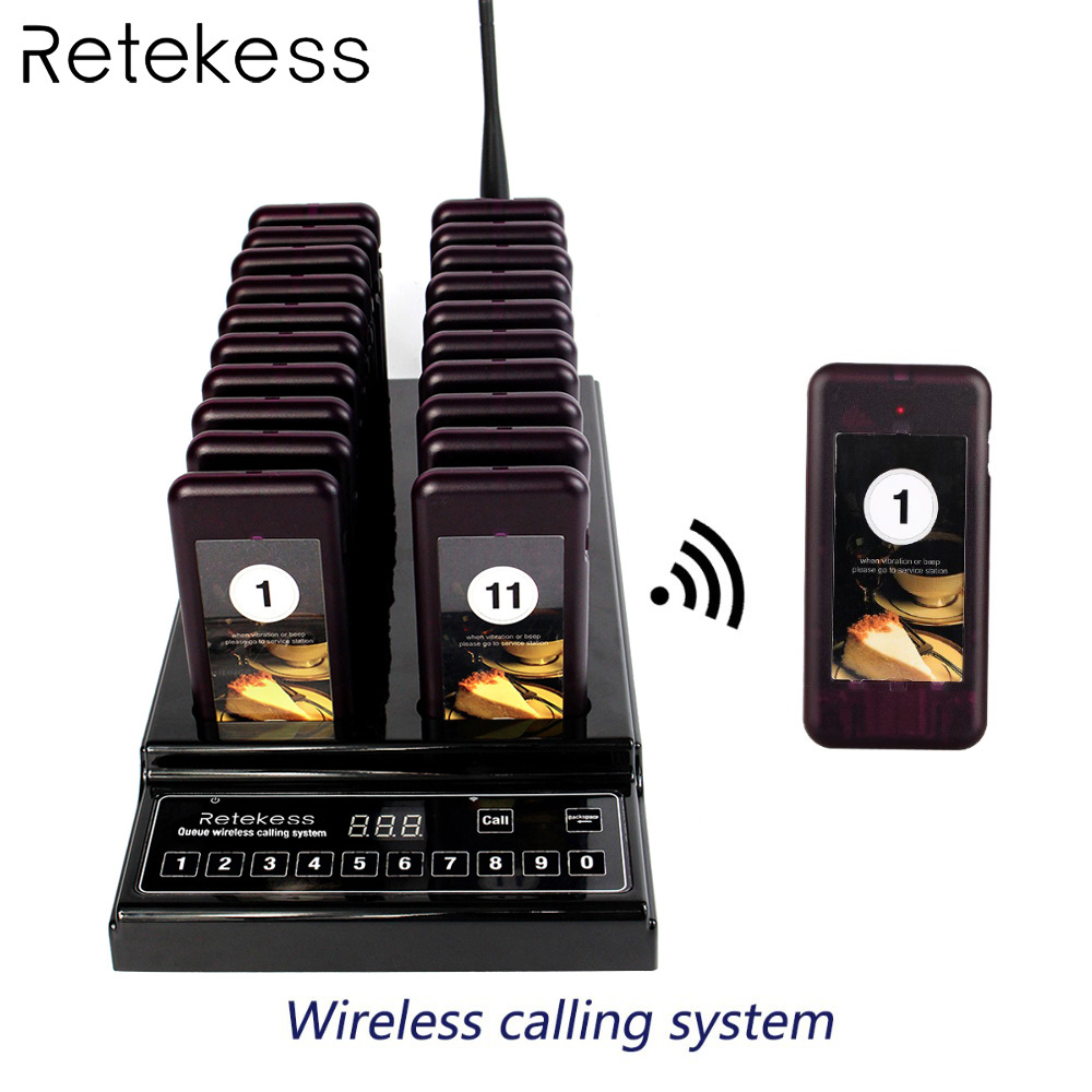 Retekess T112 999 Channel 20 Call Coaster Pager Wireless Antrian System Buzzer Call Button Pager Restaurant Equipments
