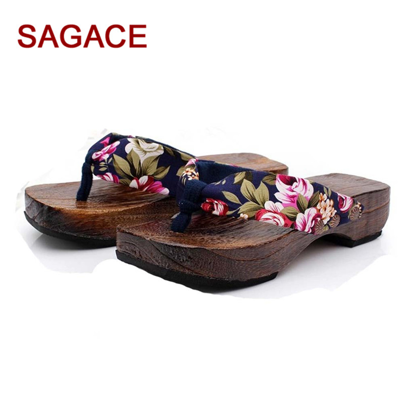Travel Sandals Slippers Platform-Shoes Clog Flip-Flops Wood Japanese-Style Beach Summer