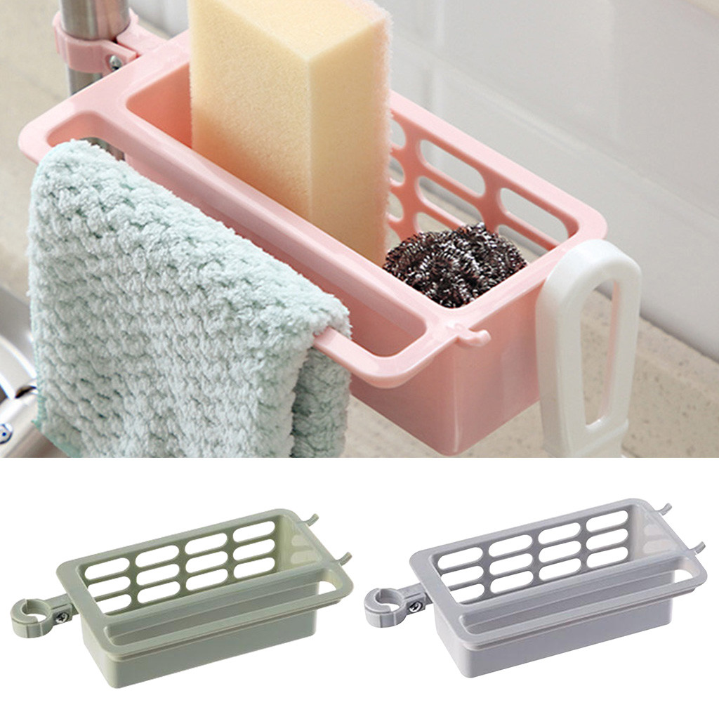 Household Faucet Sink Holder Clip Drain Rack Kitchen Sink Rag Bath Holder Soap Storage Box Kitchen Sink Accessories