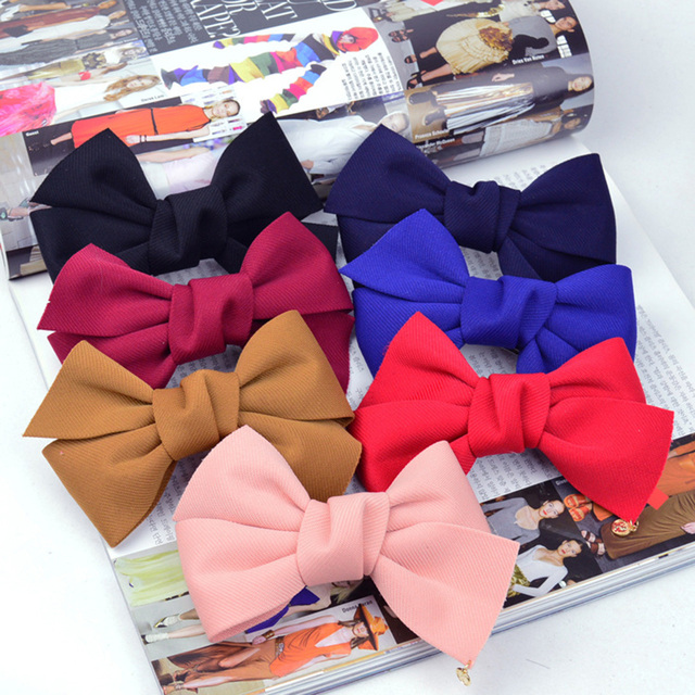New Fashion 2017 New Arrival Big Solid Cloth Bows Hair Clips Hairpins Hair Accessories for Women Girl Wedding Hair Jewelry